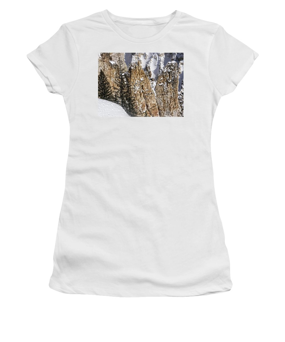 Yellowstone Women's T-Shirt (Athletic Fit) featuring the photograph Grand Canyon Of Yellowstone by Image Takers Photography LLC - Carol Haddon