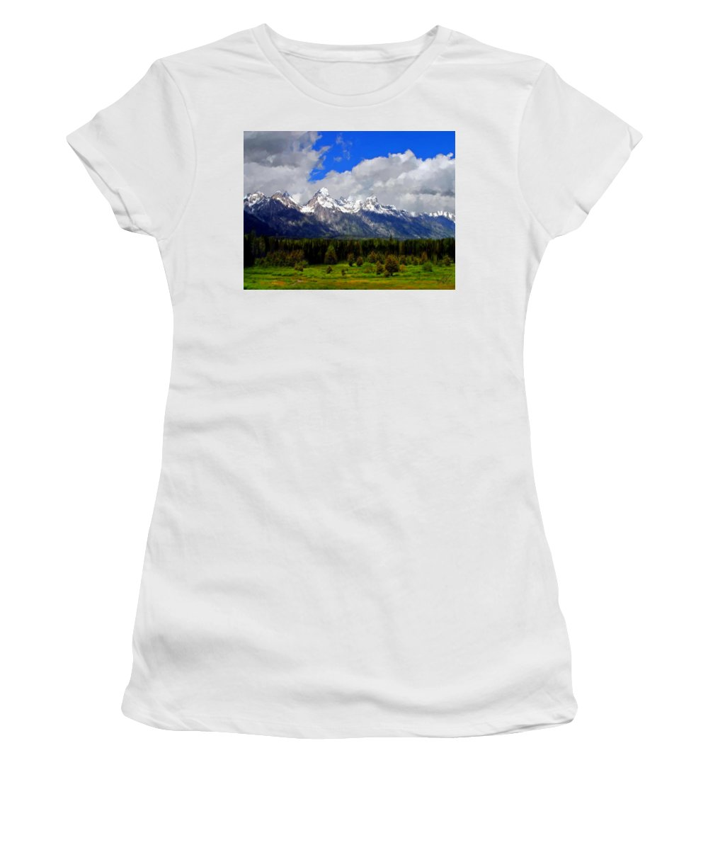 Mountains Women's T-Shirt (Athletic Fit) featuring the painting Grand Teton Mountains by Bruce Nutting