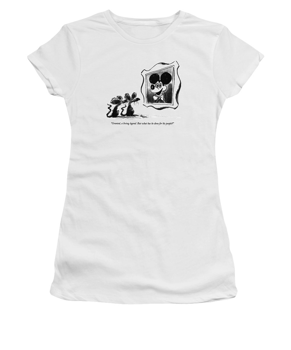 Art Women's T-Shirt (Athletic Fit) featuring the drawing Granted, A Living Legend. But What Has He Done by Lee Lorenz
