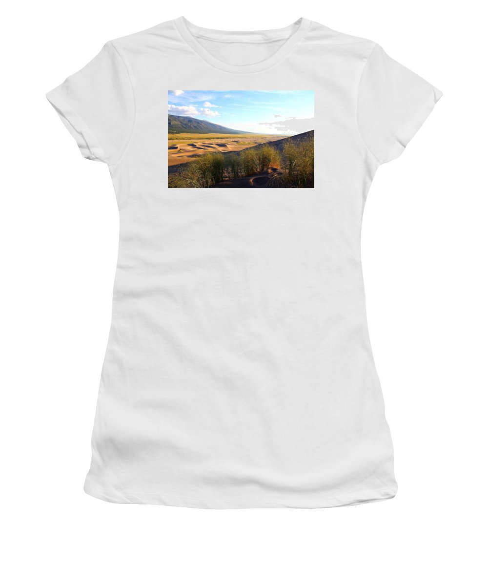 Sand Women's T-Shirt (Athletic Fit) featuring the photograph Grassy Dune by Marcelo Albuquerque