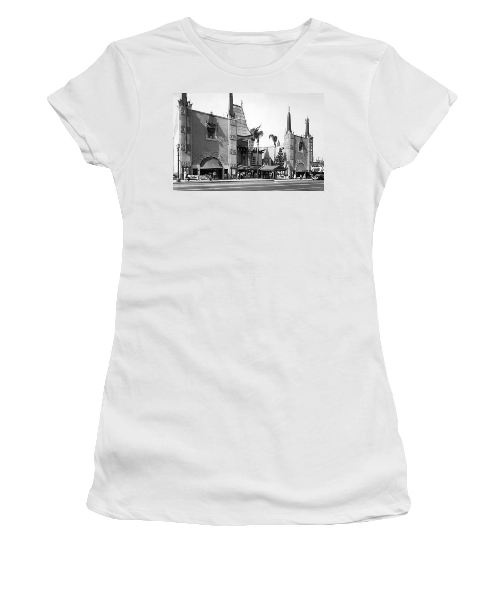1940's Women's T-Shirt featuring the photograph Grauman's Chinese Theater by Underwood Archives