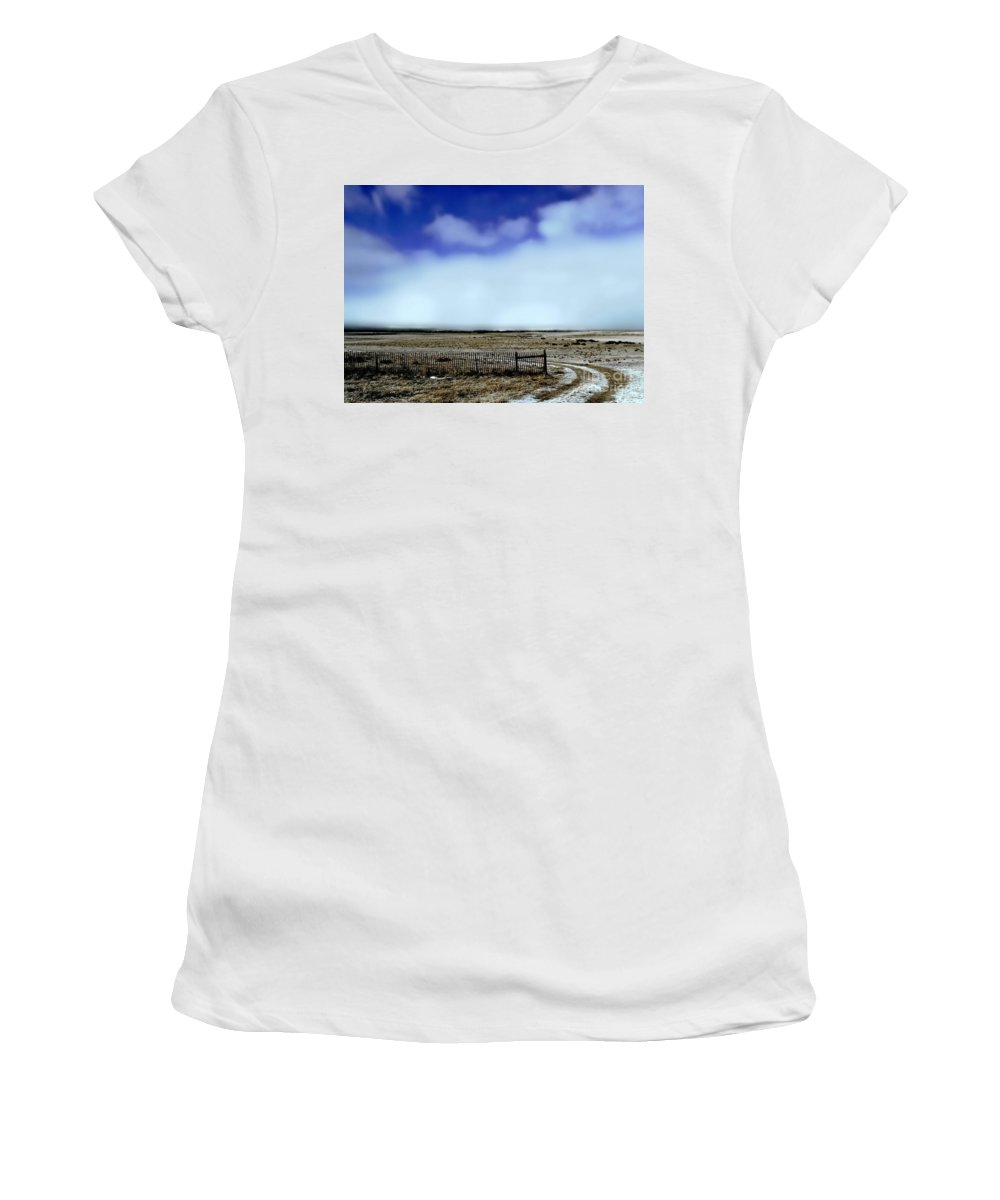 Color Photo Women's T-Shirt (Athletic Fit) featuring the digital art Great Plains Winter by Tim Richards