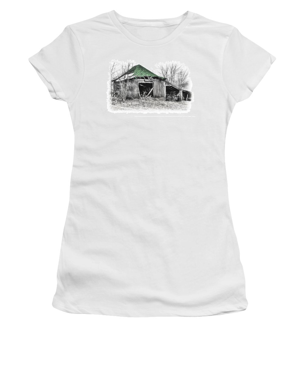 Abandoned Shed Decay Farm Rural Barn Women's T-Shirt (Athletic Fit) featuring the photograph Green by David Horst