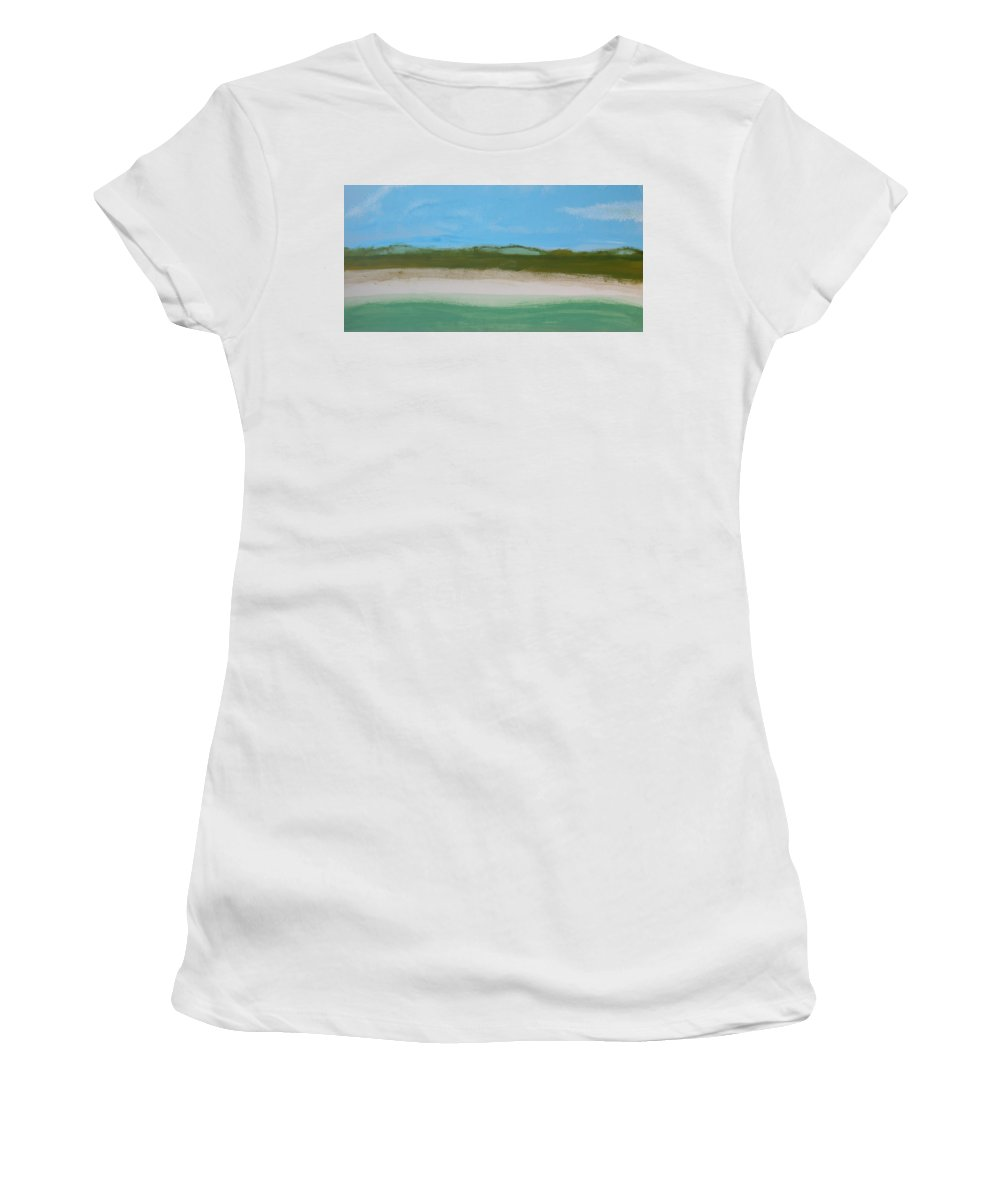 Beach Women's T-Shirt (Athletic Fit) featuring the painting Green Dunes by Rhodes Rumsey