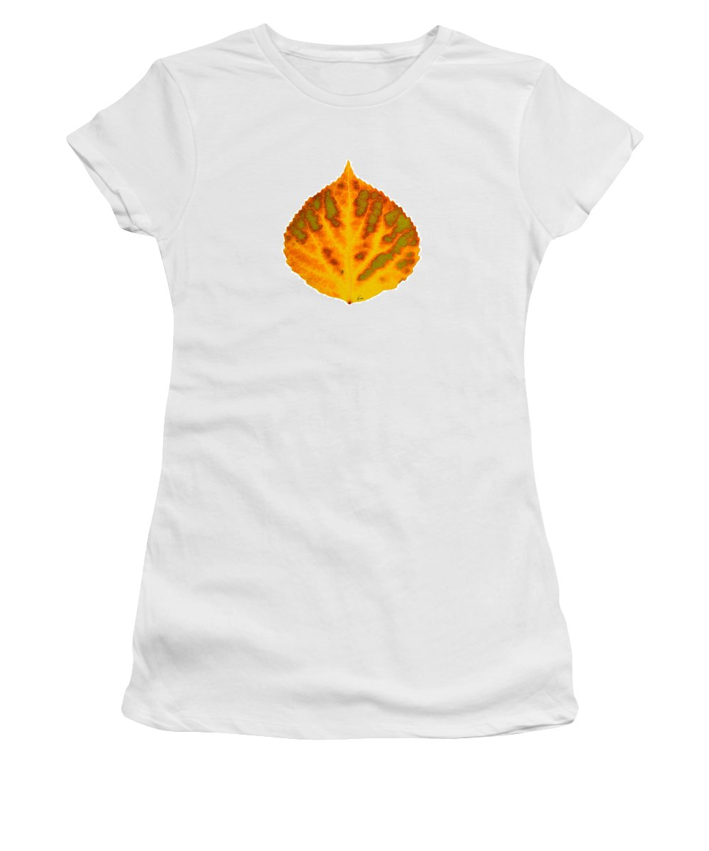 Aspen Leaf Women's T-Shirt featuring the digital art Green Orange Red And Yellow Aspen Leaf 1 by Agustin Goba