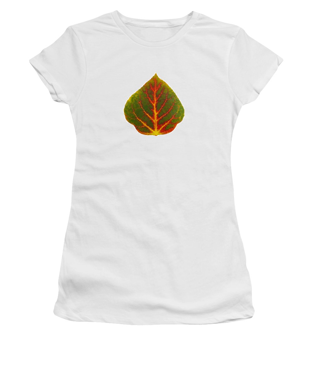 Aspen Leaf Women's T-Shirt featuring the digital art Green Red And Yellow Aspen Leaf 4 by Agustin Goba