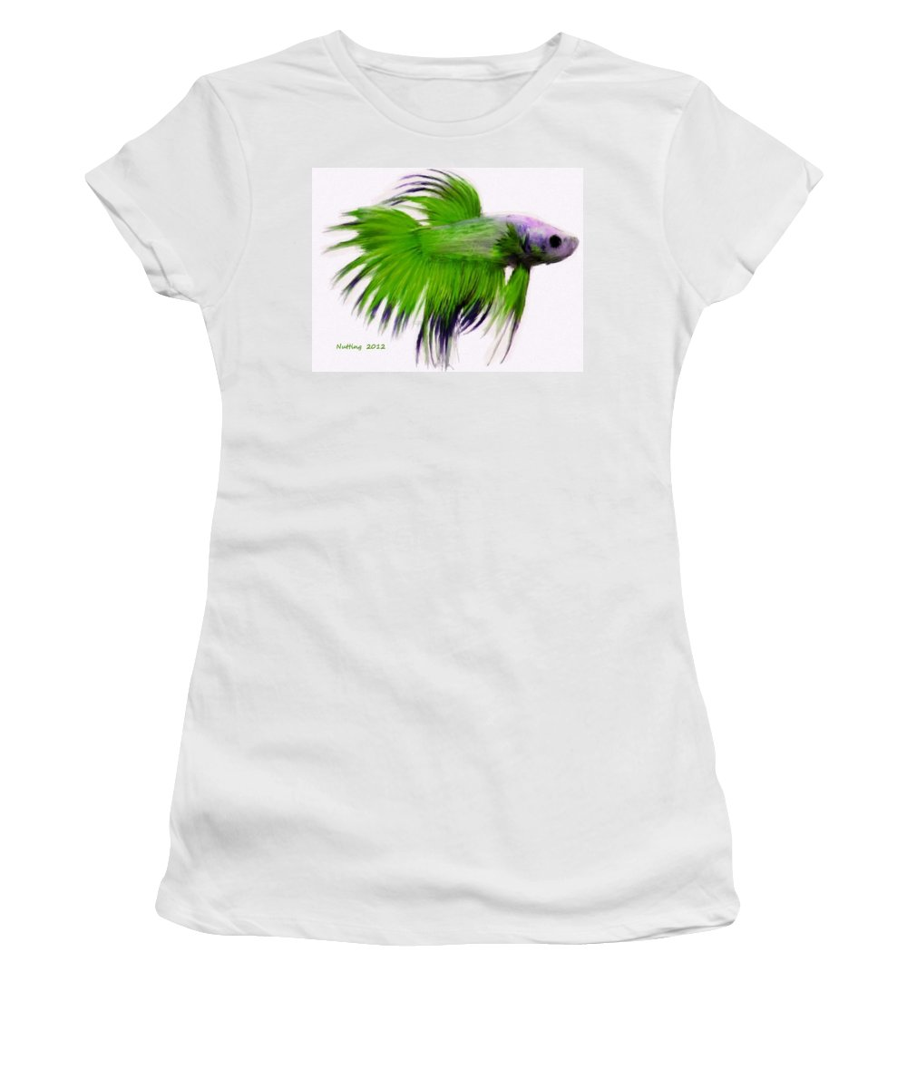 Green Women's T-Shirt (Athletic Fit) featuring the painting Green Tropical Fish by Bruce Nutting