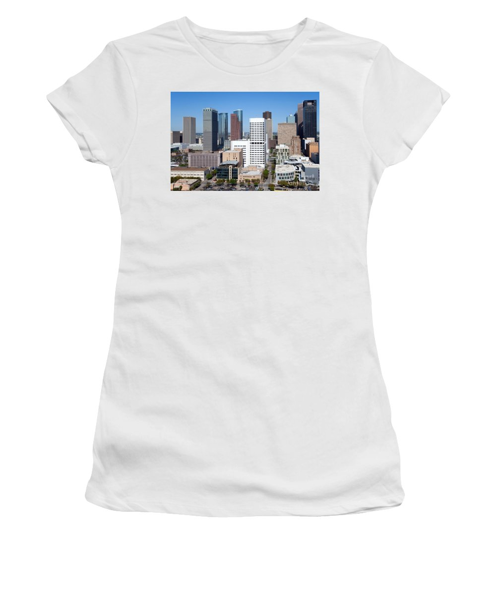 Houston Women's T-Shirt (Athletic Fit) featuring the photograph Greenstreet Houston by Bill Cobb