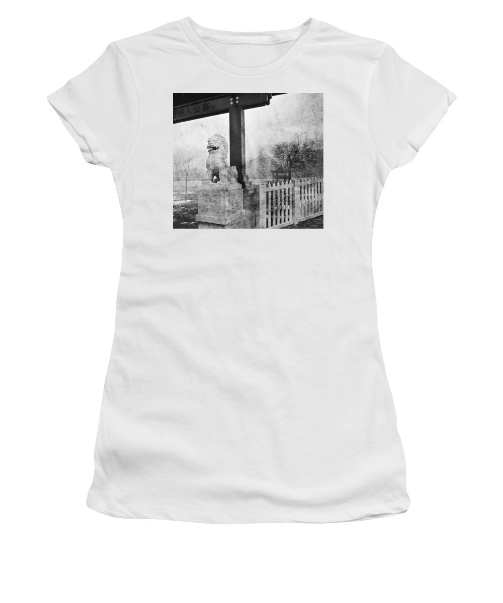 Cemetary Women's T-Shirt (Athletic Fit) featuring the photograph Guardian Of The Gate by Theresa Tahara