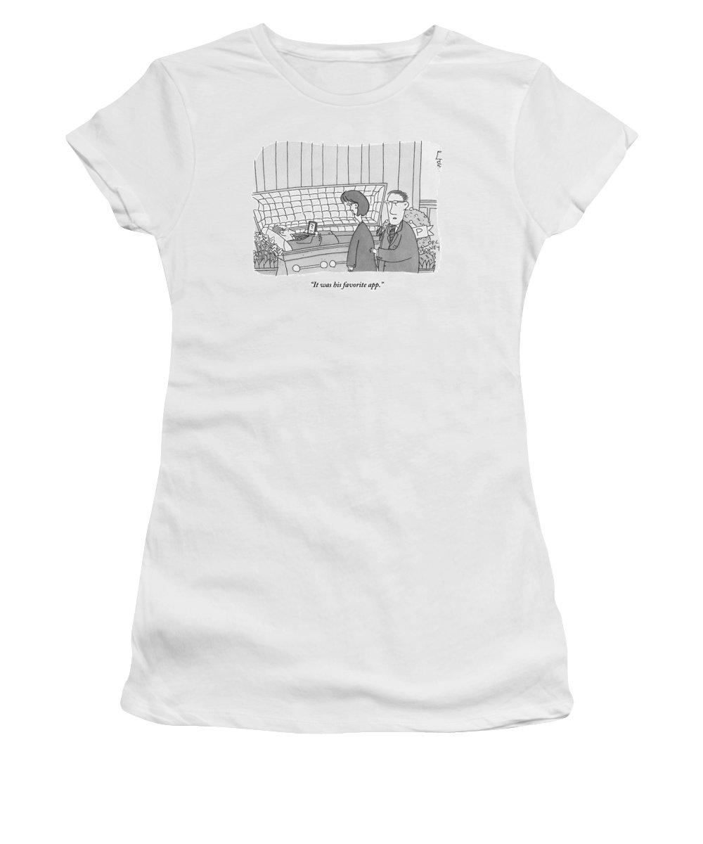 Technology Women's T-Shirt featuring the drawing Guy Is In Casket Holding An Ipad by Peter C. Vey