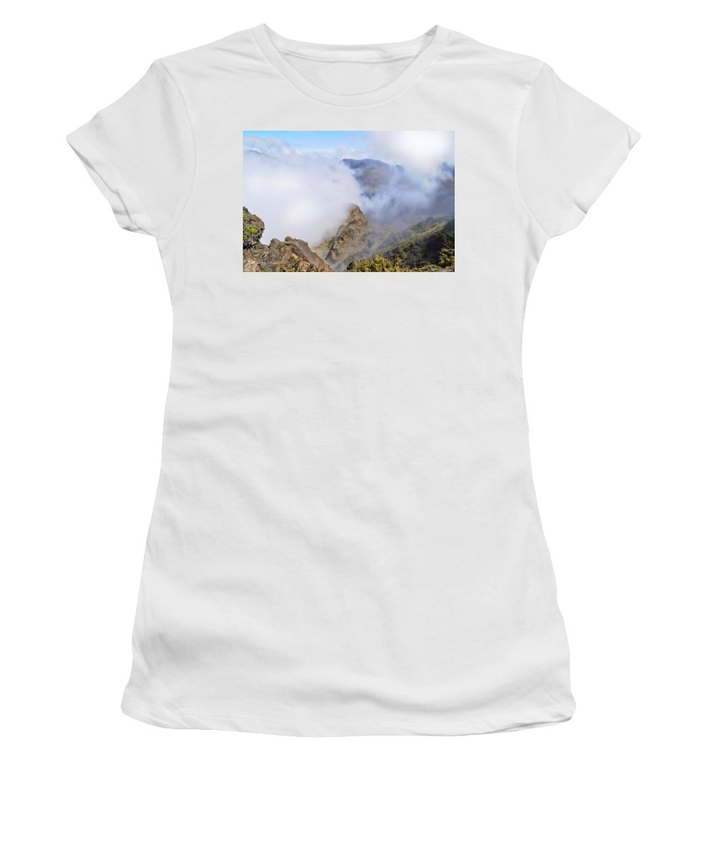 Wright Women's T-Shirt (Athletic Fit) featuring the photograph Haleakala Mists by Paulette B Wright
