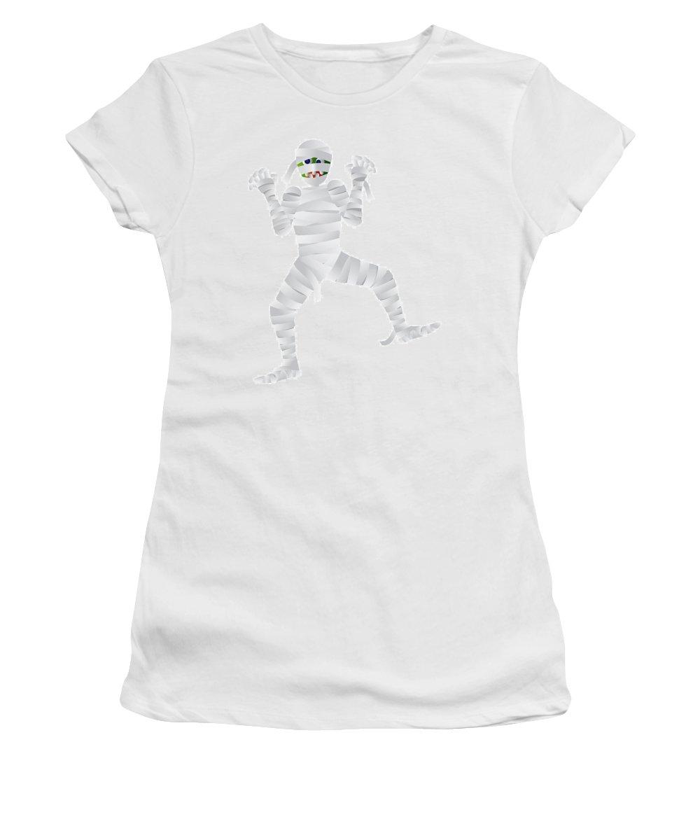 Halloween Women's T-Shirt featuring the photograph Halloween Mummy Cartoon Illustration by Jit Lim