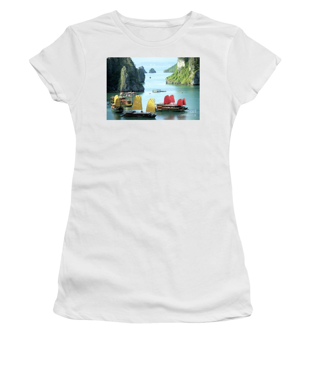 Vietnam Women's T-Shirt (Athletic Fit) featuring the photograph Halong Bay Sails 01 by Rick Piper Photography