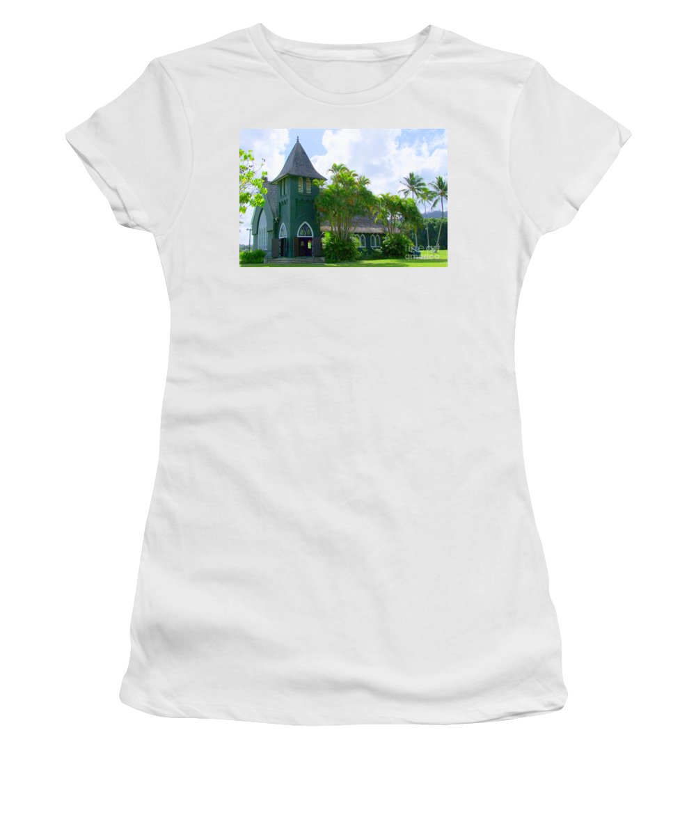 Church Women's T-Shirt (Athletic Fit) featuring the photograph Hanalei Church by Mary Deal