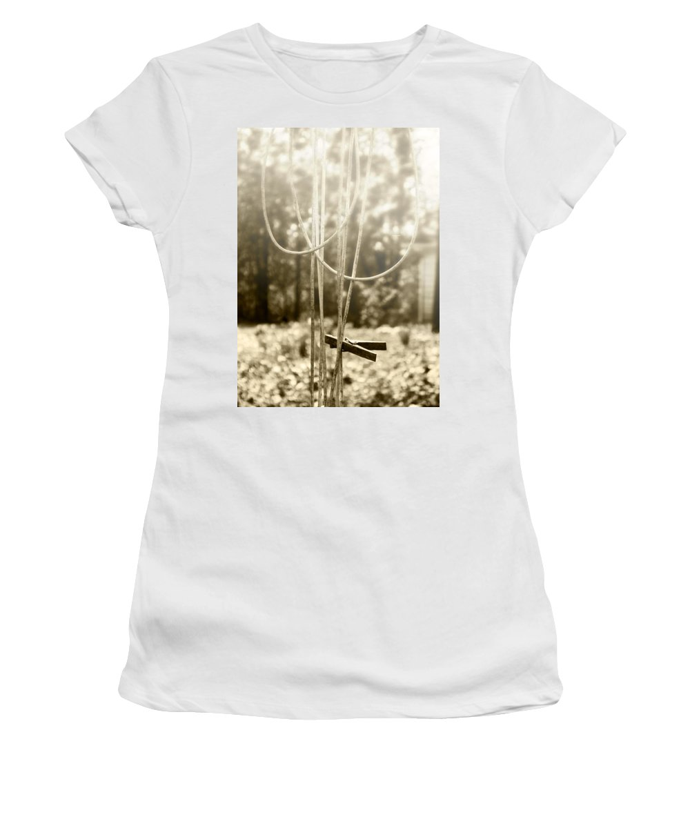 Old Clothes Line Women's T-Shirt (Athletic Fit) featuring the photograph Hang It Up by Kristie Bonnewell