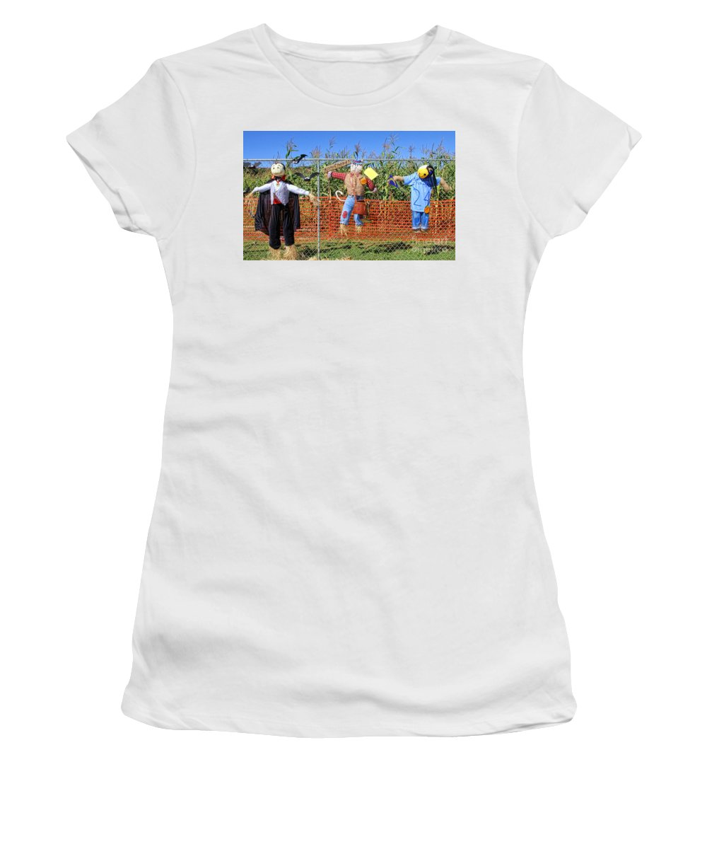 Pumpkin Women's T-Shirt (Athletic Fit) featuring the photograph Hanging For Halloween By Diana Sainz by Diana Raquel Sainz