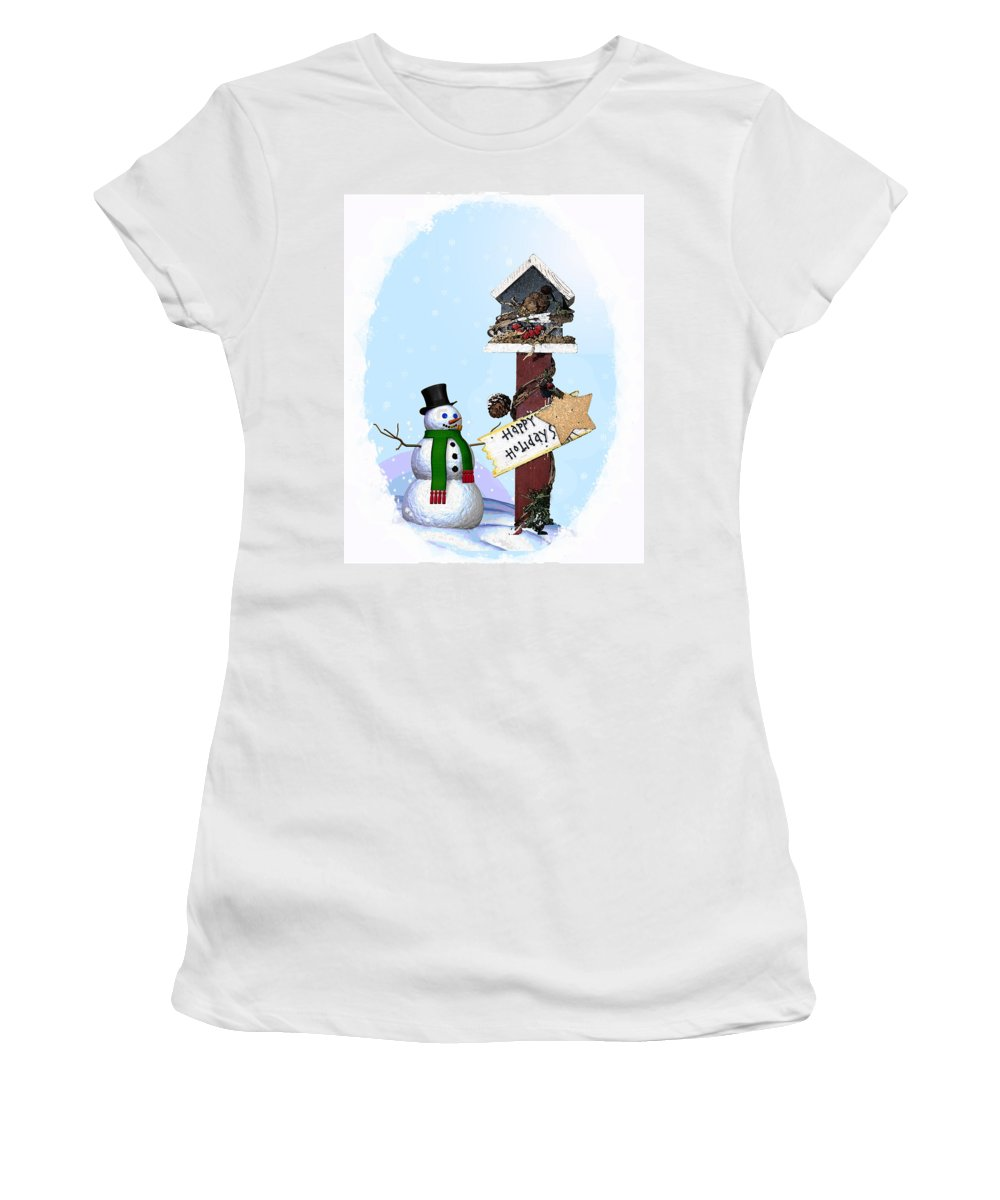 Snowman Women's T-Shirt featuring the photograph Happy Holidays by Debby Richards