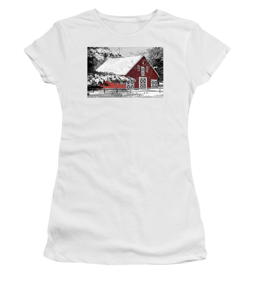 Red Barn Women's T-Shirt (Athletic Fit) featuring the photograph Happy Holidays by Living Color Photography Lorraine Lynch