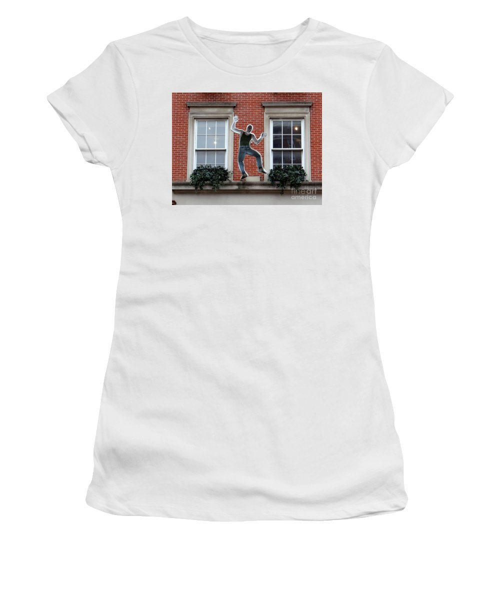 Nyc Women's T-Shirt (Athletic Fit) featuring the photograph Happy Man by Ed Weidman