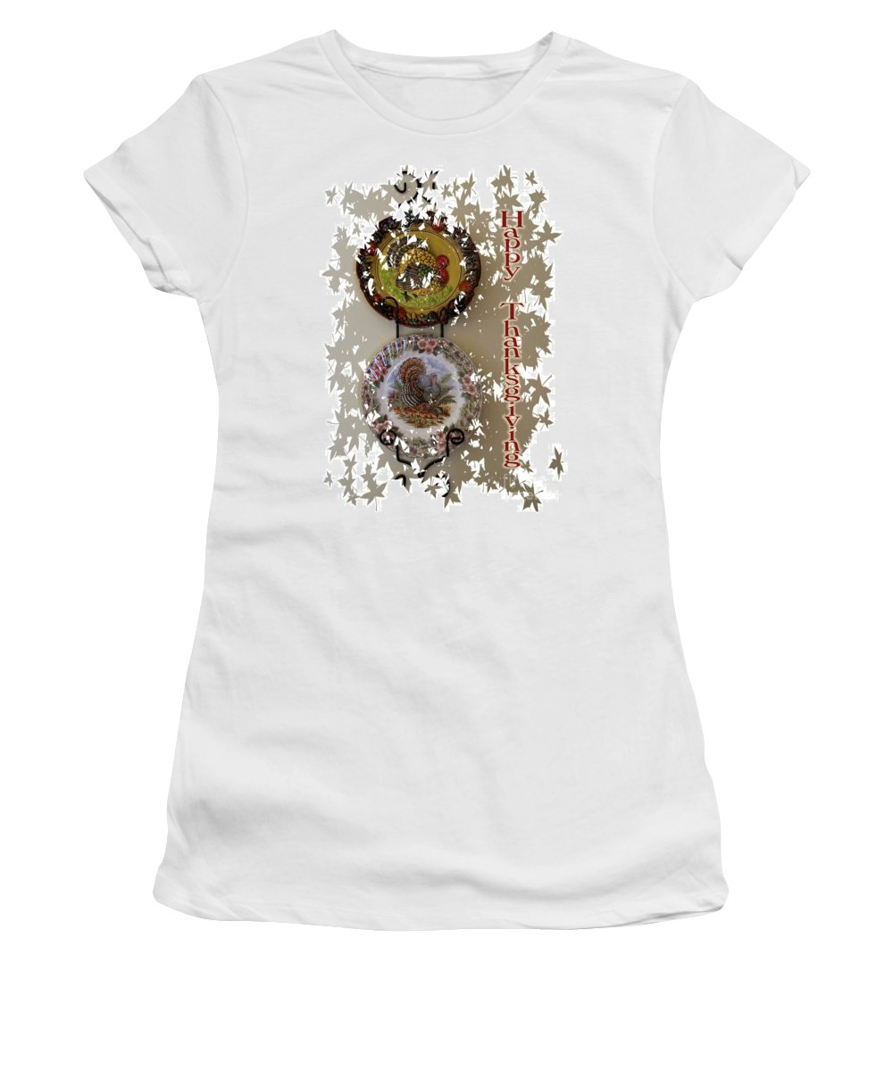 Thanksgiving Women's T-Shirt featuring the digital art Happy Thanksgiving by Nancy Patterson