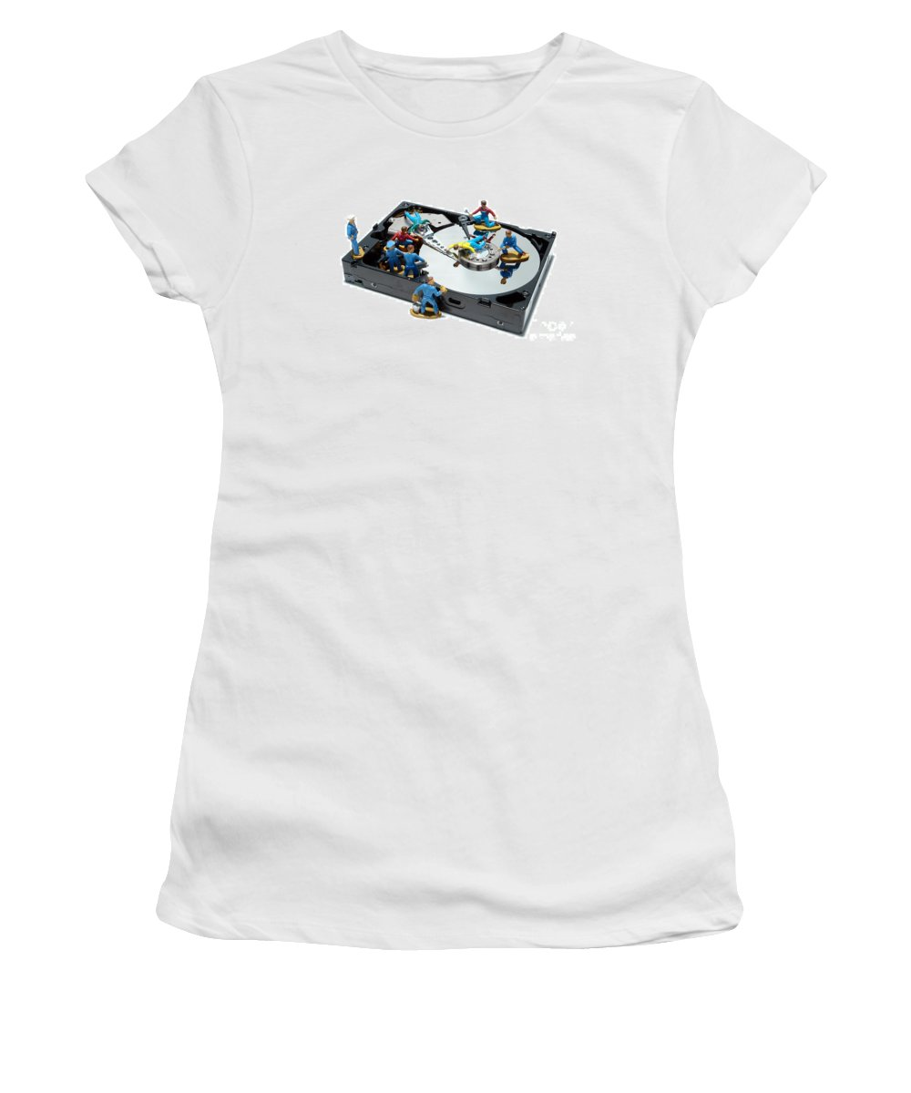 Computer Women's T-Shirt featuring the photograph Hard Drive Maintenance by Olivier Le Queinec