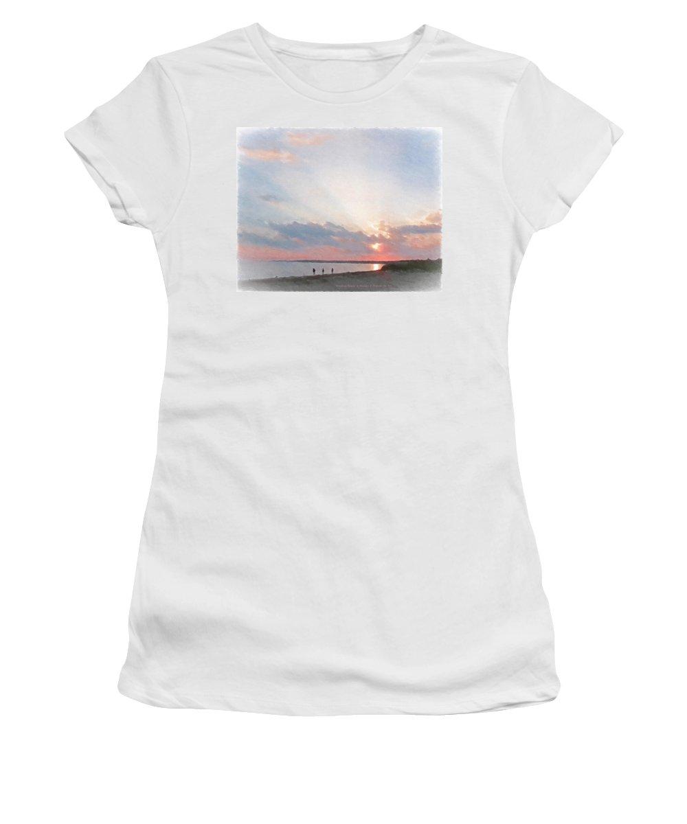 Hardings Beach Women's T-Shirt (Athletic Fit) featuring the painting Hardings Beach by Michael DArienzo