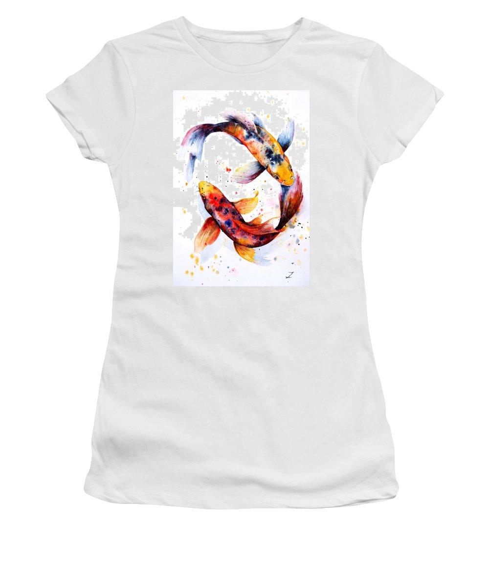 Koi Women's T-Shirt (Athletic Fit) featuring the painting Harmony by Zaira Dzhaubaeva