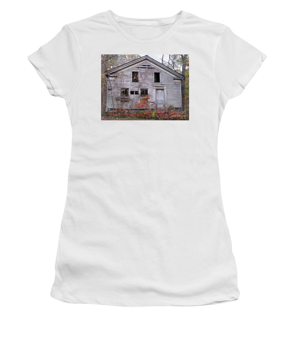 Haunted House Women's T-Shirt (Athletic Fit) featuring the photograph Haunted by Michael Krek