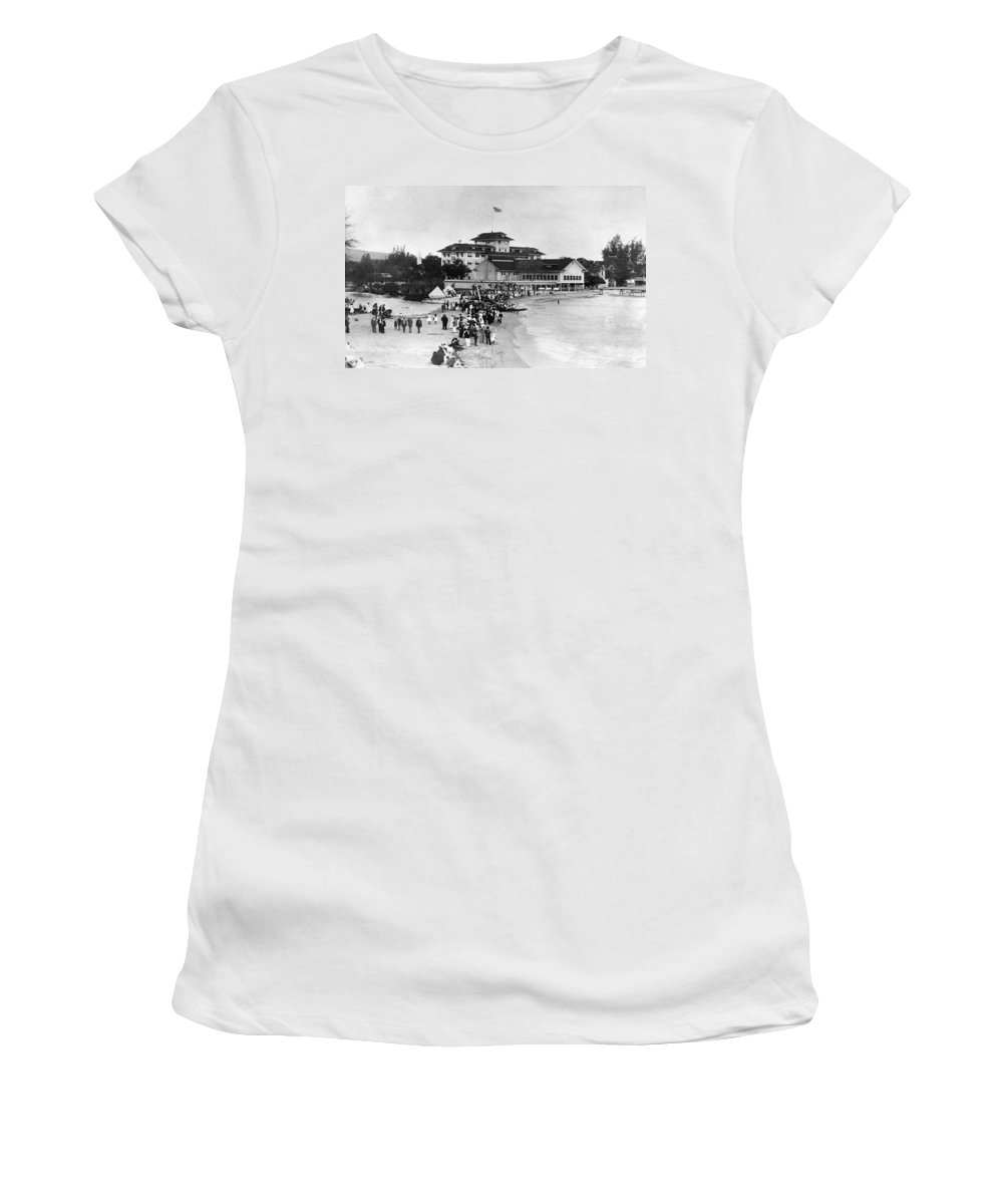 1914 Women's T-Shirt (Athletic Fit) featuring the photograph Hawaii Beach, 1914 by Granger
