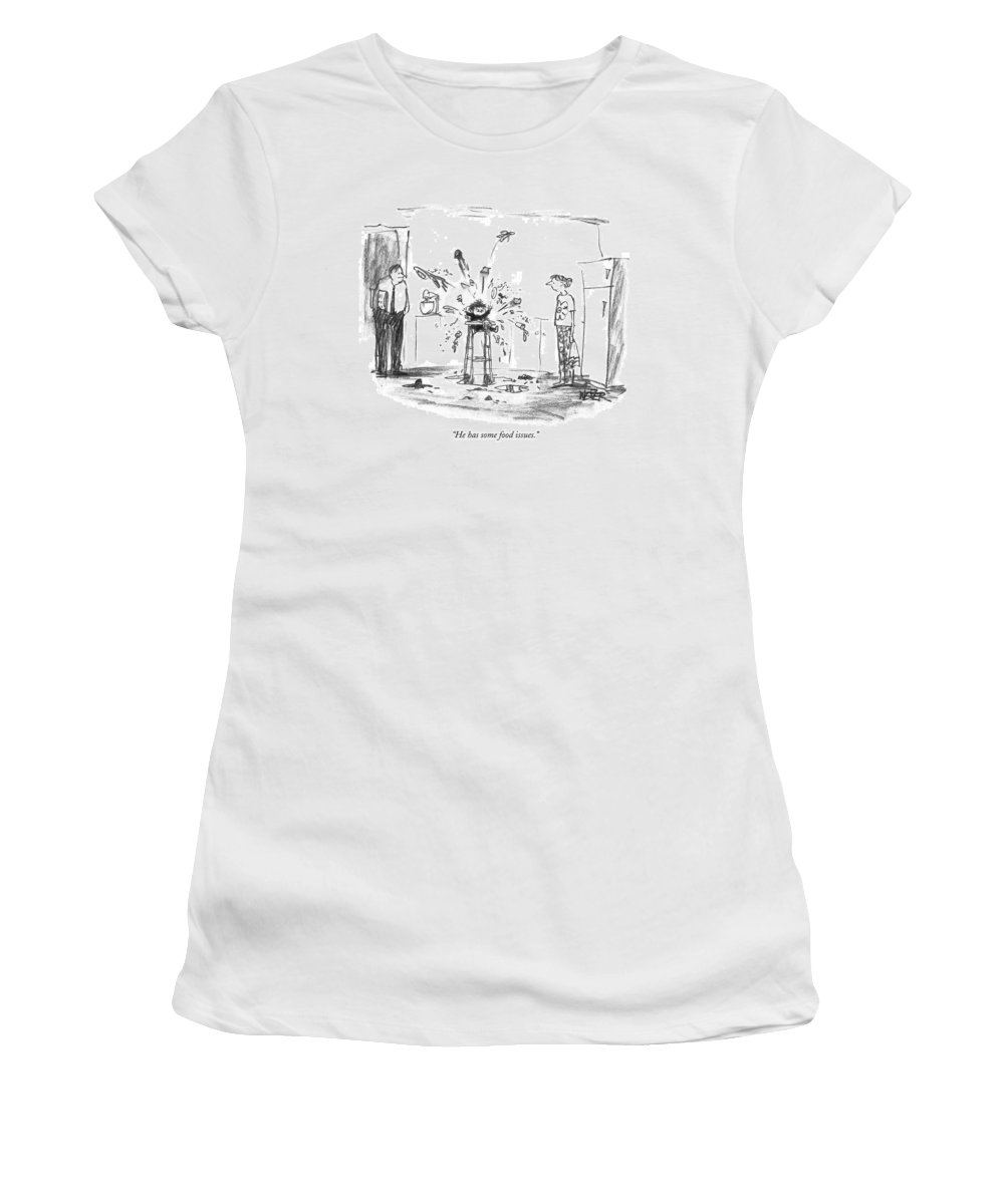 Babies - General Women's T-Shirt (Athletic Fit) featuring the drawing He Has Some Food Issues by Robert Weber