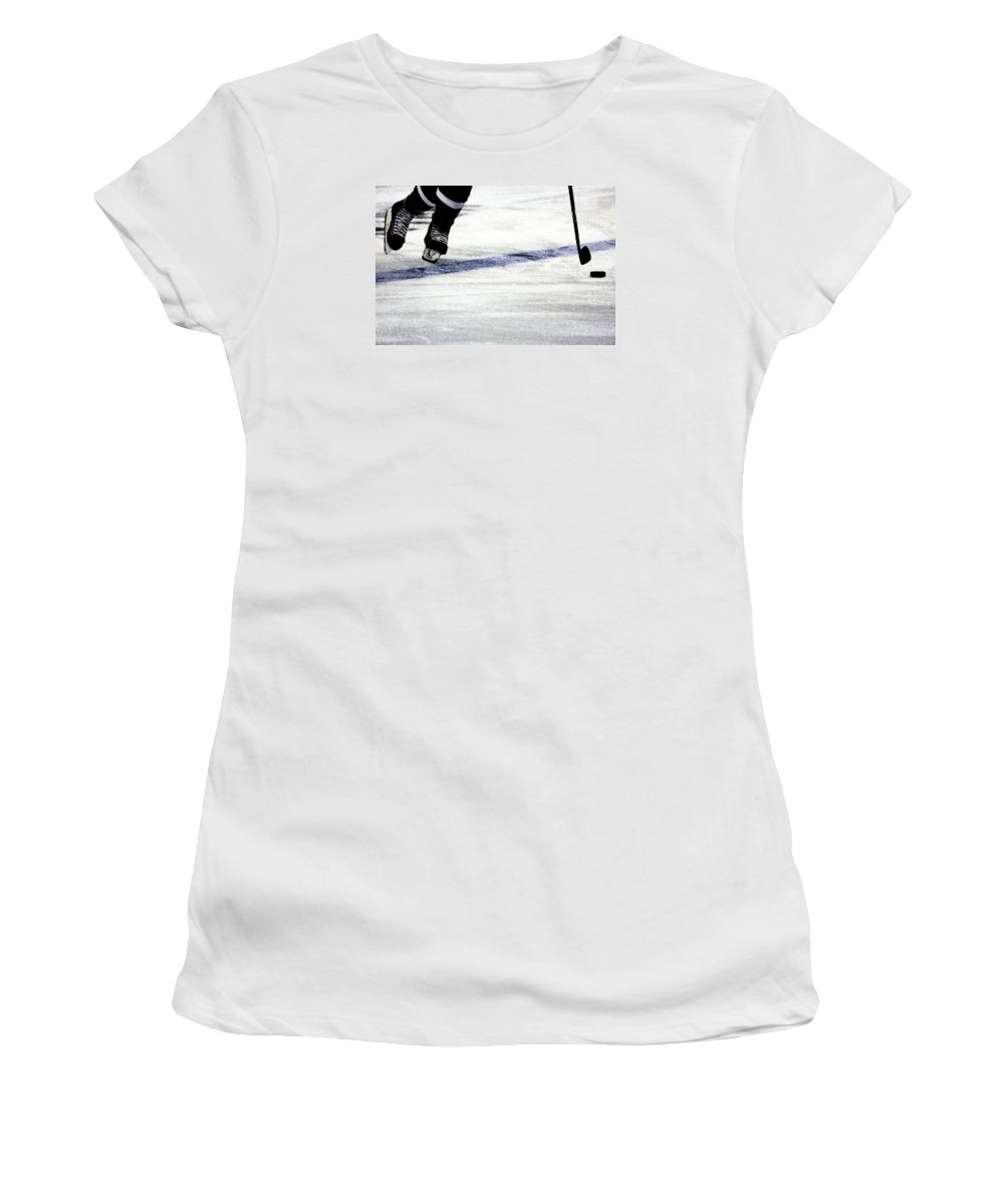 Hockey Women's T-Shirt (Athletic Fit) featuring the photograph He Skates by Karol Livote