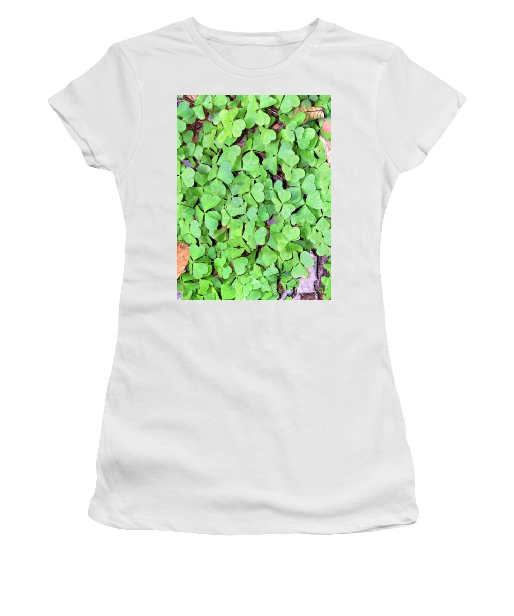 Clovers Women's T-Shirt (Athletic Fit) featuring the photograph Heart Clovers by Elizabeth Dow