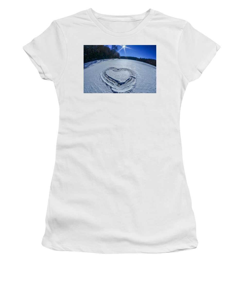Ice Women's T-Shirt (Athletic Fit) featuring the photograph Heart Outlined On Snow On Topw Of Frozen Lake by Alex Grichenko