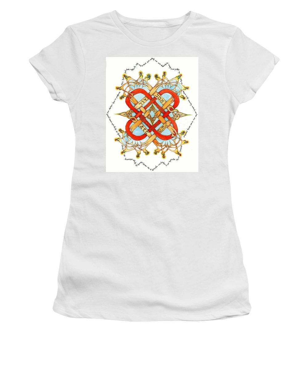 Love Women's T-Shirt featuring the painting Hebrew Words For Love by Hidden Mountain