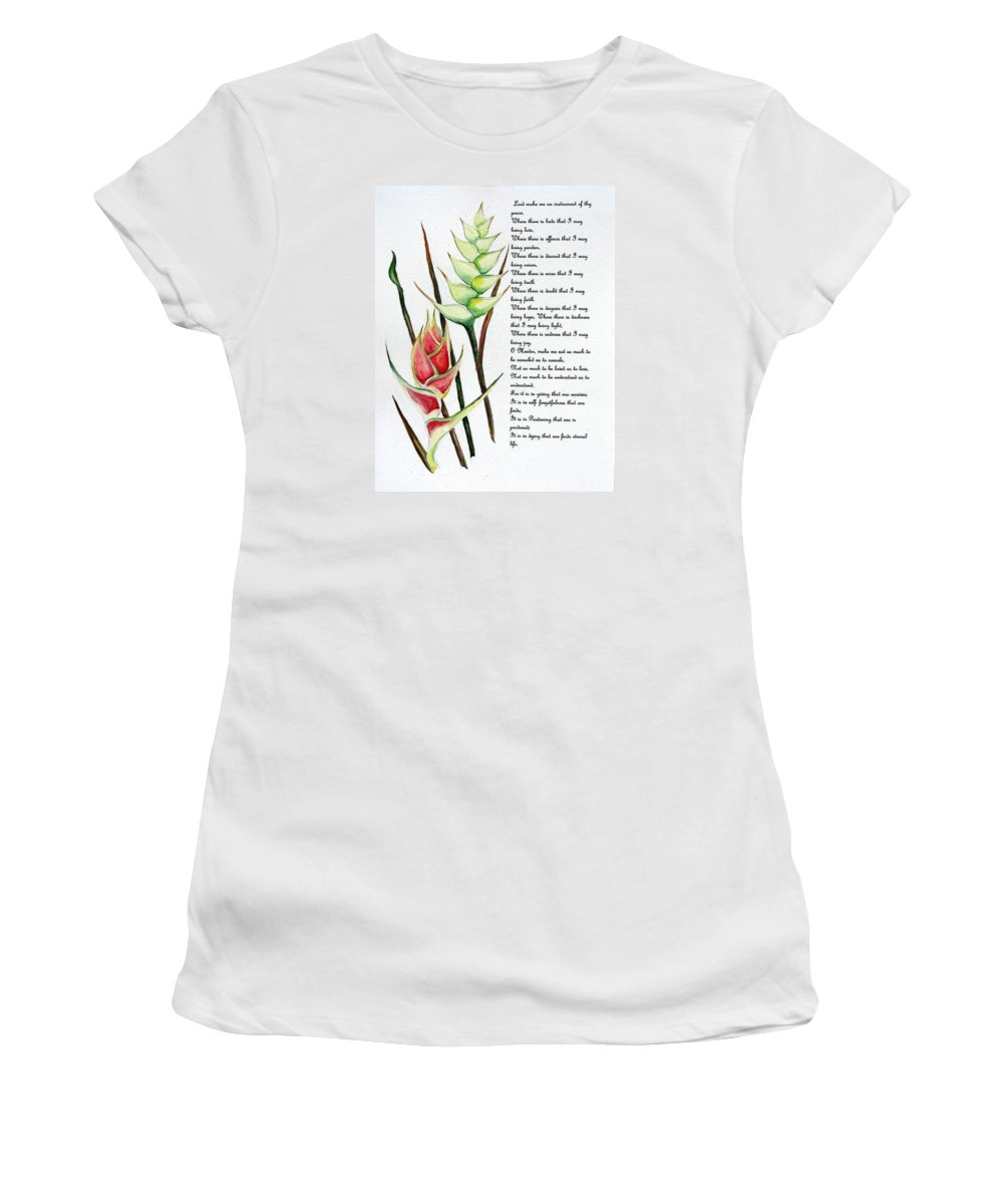 Tropical Lily Women's T-Shirt (Athletic Fit) featuring the painting Heliconia Poem by Karin Dawn Kelshall- Best