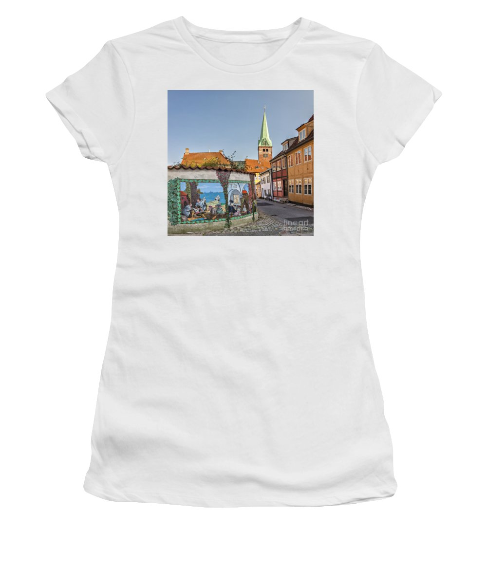 Spire Women's T-Shirt (Athletic Fit) featuring the photograph Helsingor Street by Sophie McAulay