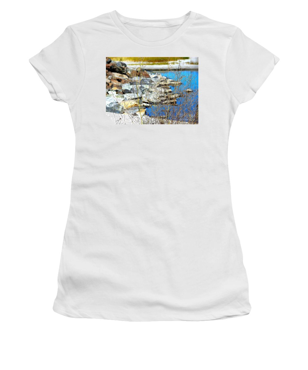 Hereford Women's T-Shirt featuring the photograph Hereford Inlet Rock Formations by Pamela Hyde Wilson
