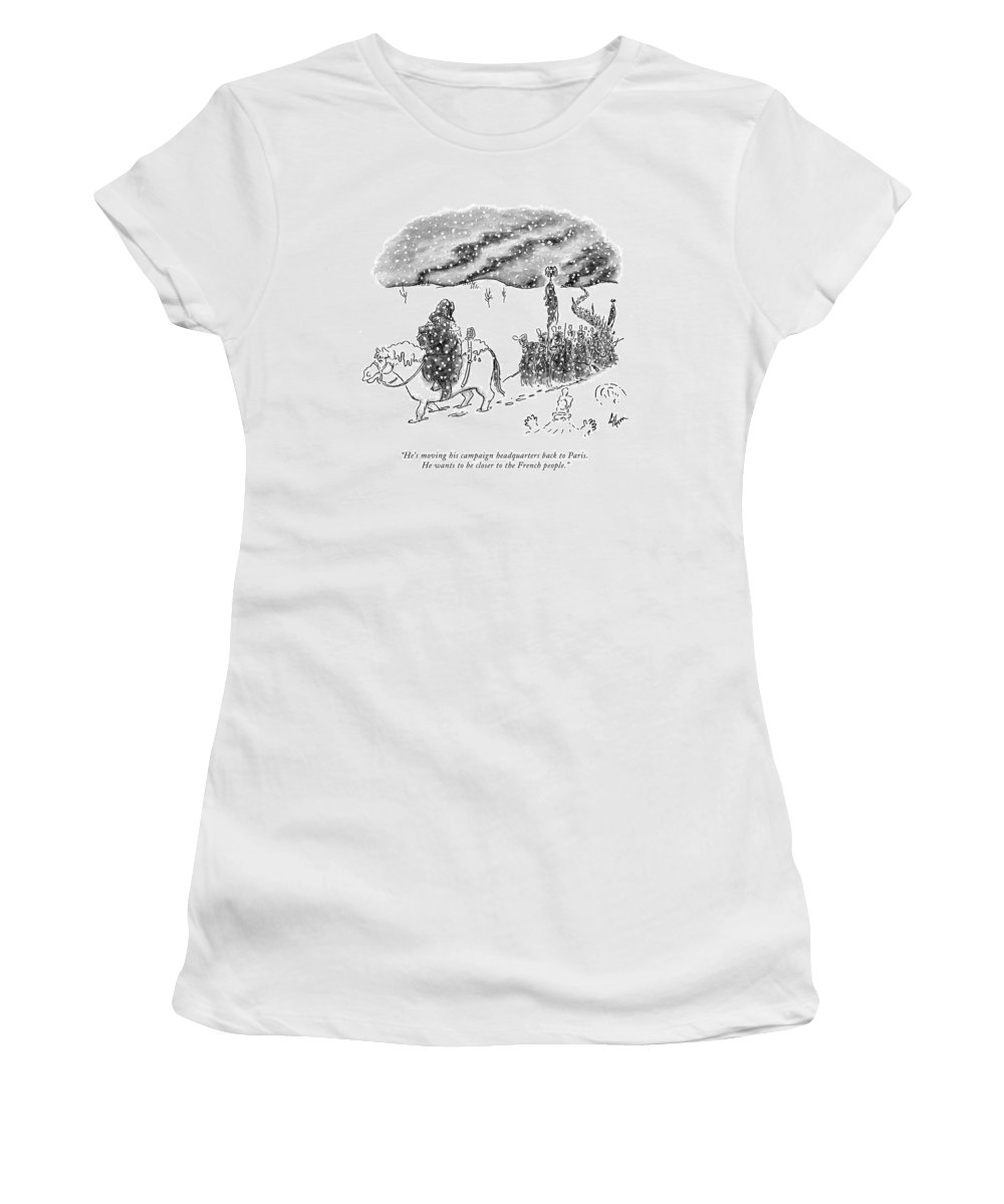 History Women's T-Shirt featuring the drawing He's Moving His Campaign Headquarters Back by Frank Cotham