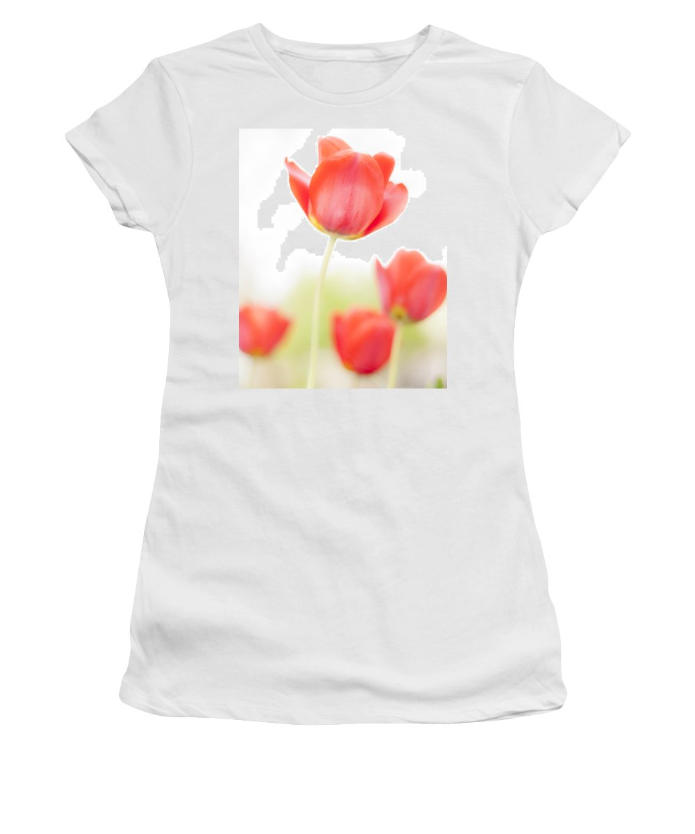 3scape Women's T-Shirt (Athletic Fit) featuring the photograph High Key Tulips by Adam Romanowicz