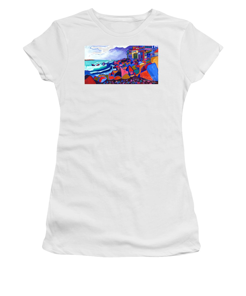Landscape Women's T-Shirt featuring the painting High Tide Boars Head NH by Debra Bretton Robinson