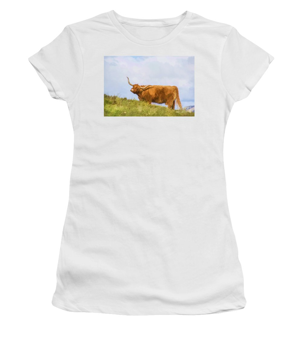 Scotland Canvas Women's T-Shirt featuring the photograph Highland Cow Watercolour by Chris Thaxter