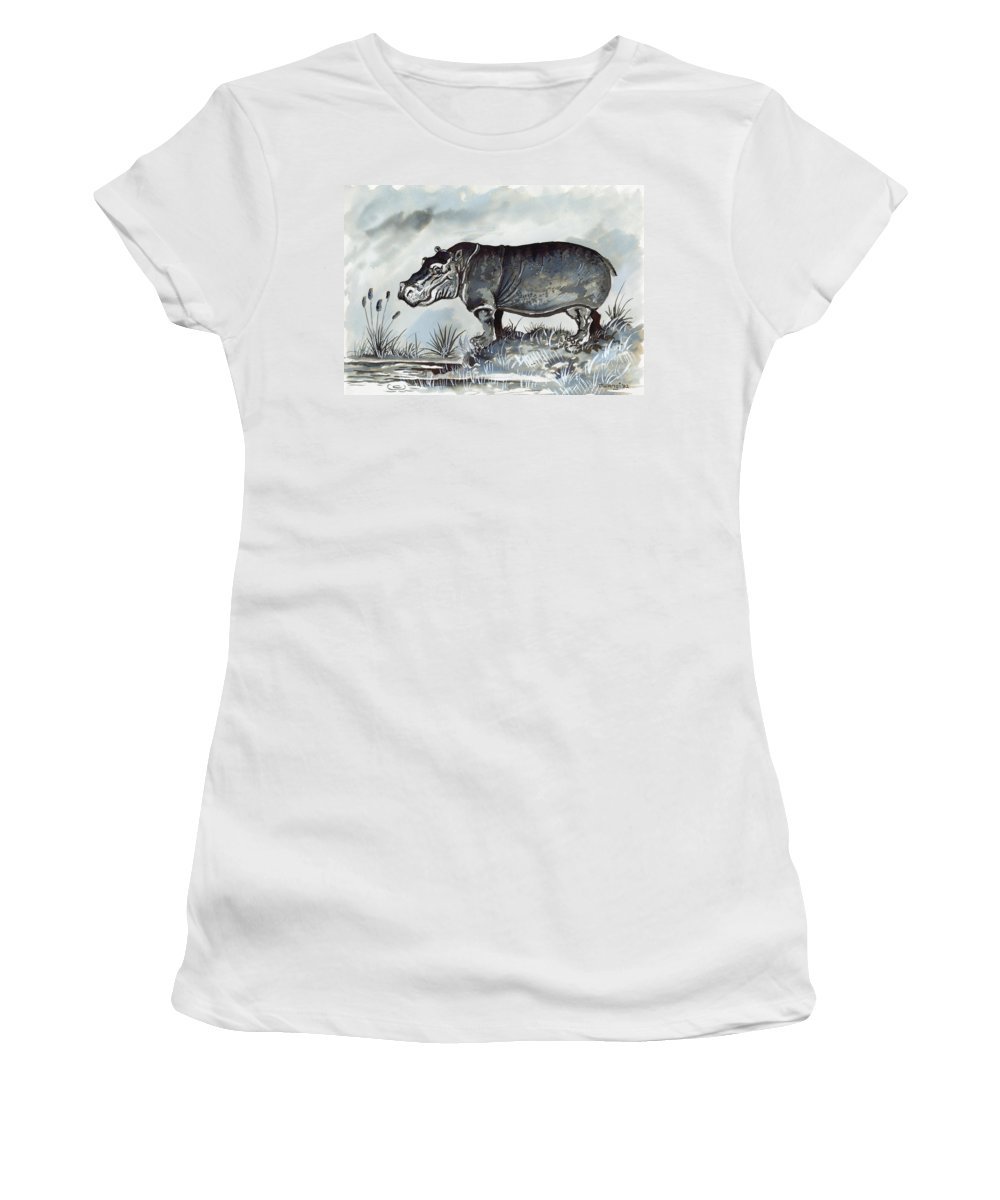 Grey Women's T-Shirt featuring the drawing Hippo by Anthony Mwangi