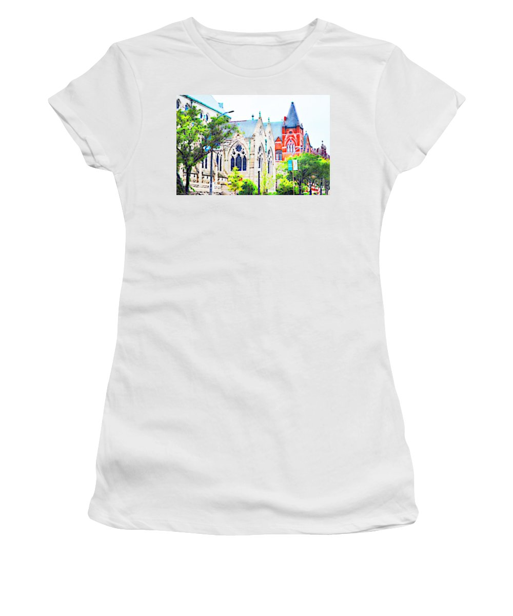 Architecture Women's T-Shirt (Athletic Fit) featuring the photograph Historic Churches St Louis Mo - Digital Effect 7 by Debbie Portwood