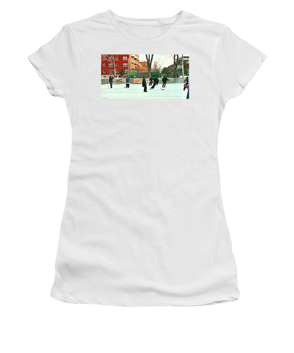 Montreal Women's T-Shirt featuring the painting Hockey Art Shimmy Game Local Rink Montreal Paintings Winter Street Scene Verdun Art Carole Spandau by Carole Spandau