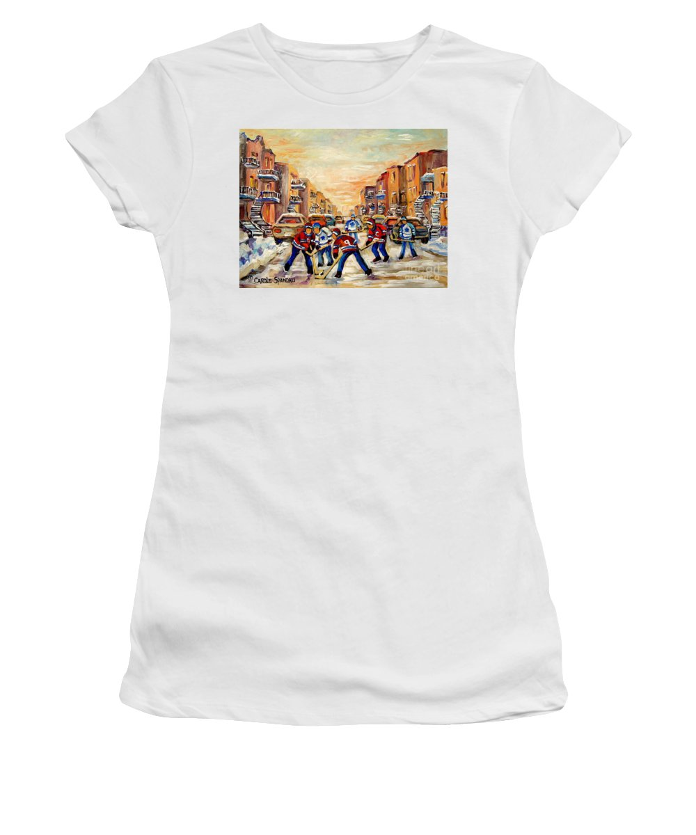 Hockey Daze Women's T-Shirt (Athletic Fit) featuring the painting Hockey Daze by Carole Spandau