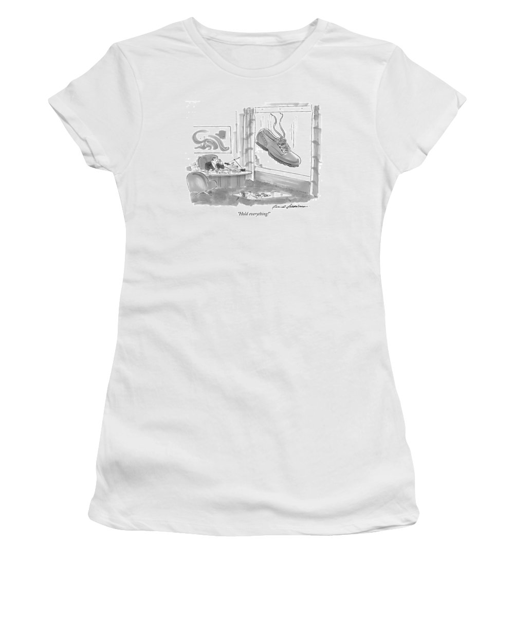 Cliches Women's T-Shirt (Athletic Fit) featuring the drawing Hold Everything! by Bernard Schoenbaum