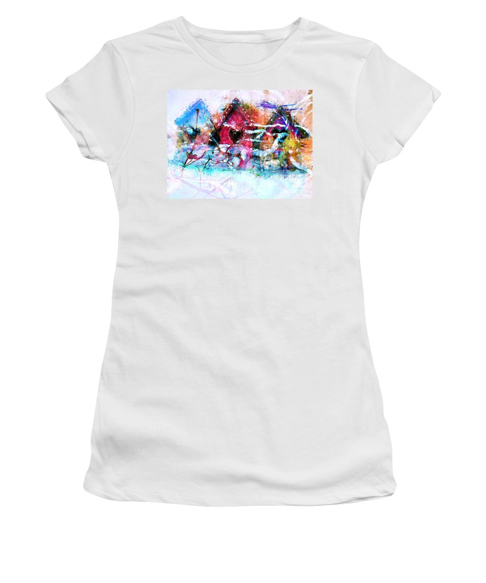 Birdhouses Women's T-Shirt featuring the photograph Home Through All Seasons by Claire Bull