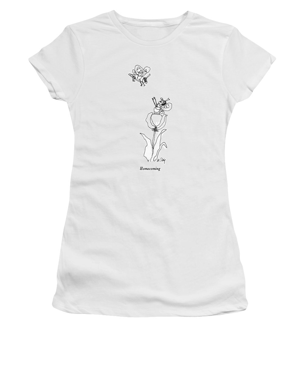 Homecoming  Homecoming: Title. A Female Insect On A Flower Raises Her Arms To Welcome A Male Insect Flying Above. Artkey 38056 Women's T-Shirt featuring the drawing Homecoming by William Steig