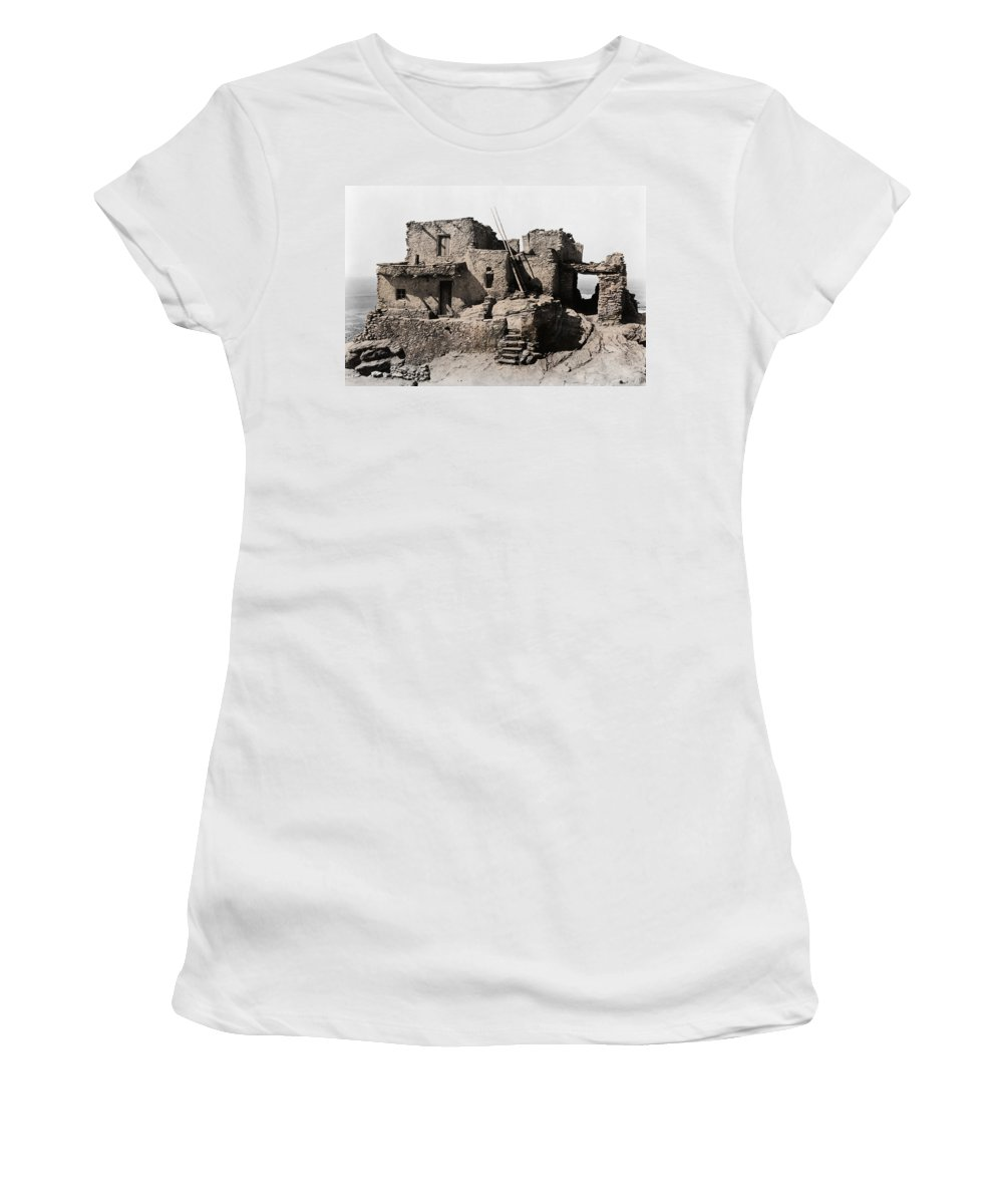 Hopi Women's T-Shirt featuring the photograph Hopi Hilltop Indian Dwelling 1920 by Daniel Hagerman