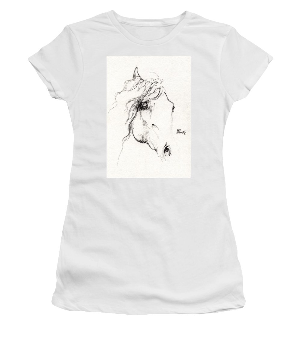 Horse Women's T-Shirt featuring the drawing Horse Sketch 2014 05 24a by Angel Ciesniarska